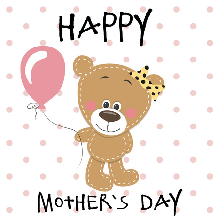 balloons teddy bear: Greeting card Teddy bear girl with balloons