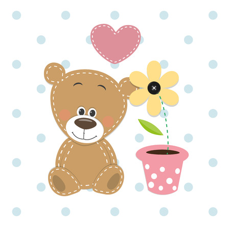 Greeting card Cute Teddy Bear with heart and flower  Ilustração