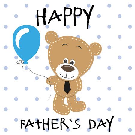 Greeting card Teddy bear boy with balloons Vector