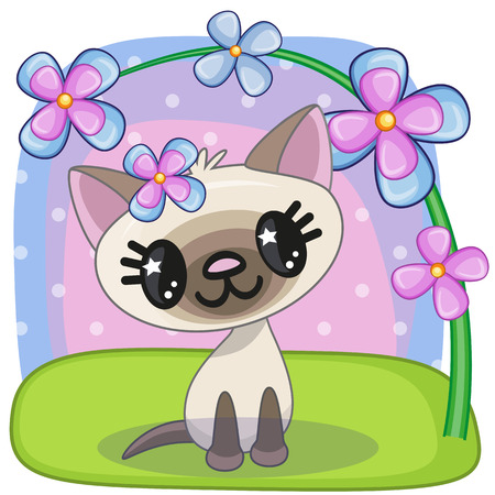 flowers cat: Greeting card Cat with flowers