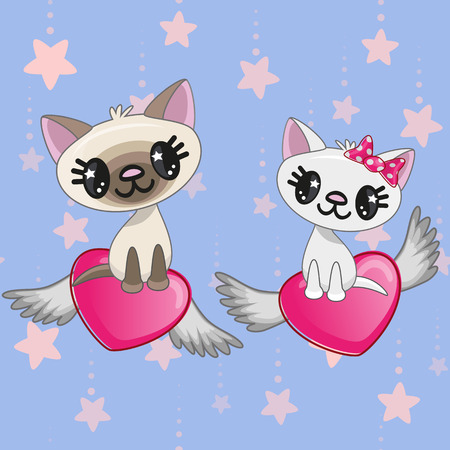 small girl: Valentine card with Lovers Cats on the flying hearts