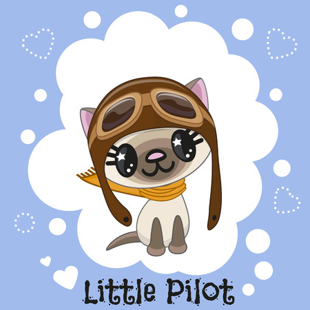 Cute cartoon Cat in a pilot hat Illustration