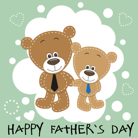 Greeting card Two bears a father and a son Vector
