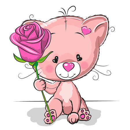 Greeting card cute Cat with flower