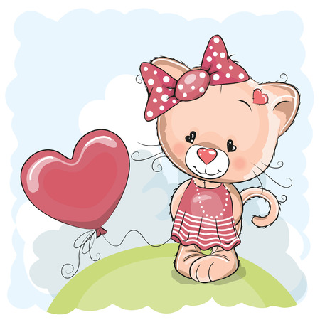 초원에 풍선 카드 고양이 소녀 인사말 스톡 콘텐츠 - 39945780