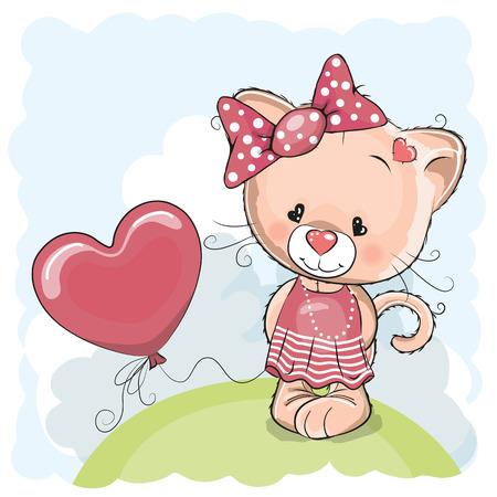 battesimo: Biglietto di auguri Ragazza del gatto con palloncino sul prato Vettoriali