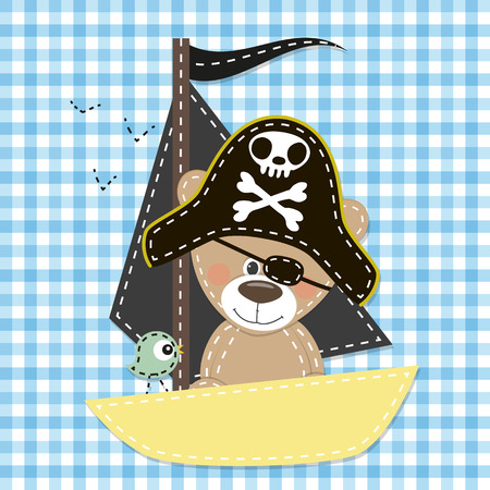 teddybear: Cute cartoon Bear in a pirate hat Illustration