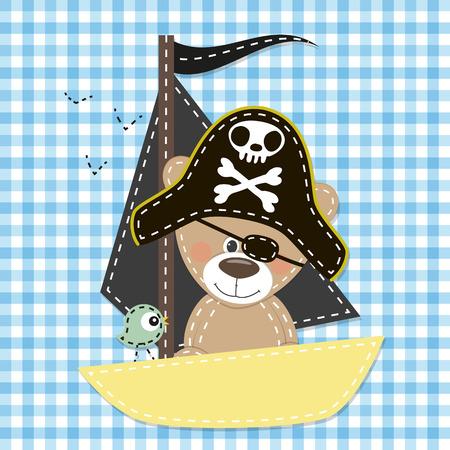 oso caricatura: Oso lindo de la historieta en un sombrero de pirata