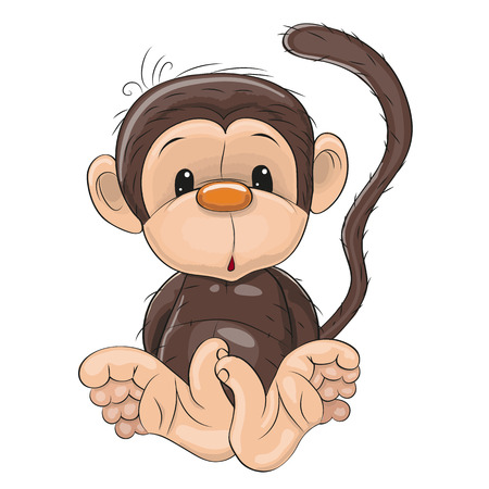 cute cartoons: Cute Monkey isolated on a white background
