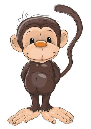 cartoons animals: Cute Monkey isolated on a white background