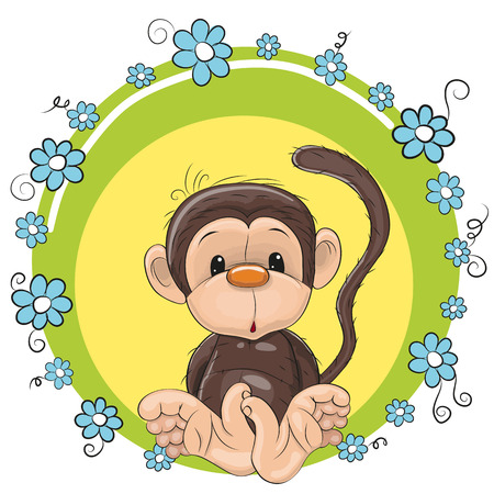 cartoons: Greeting card cute Monkey with blue flowers