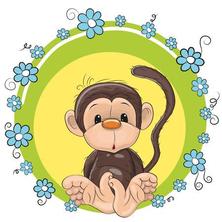 caricaturas de animales: Mono lindo Tarjeta de felicitación con flores de color azul