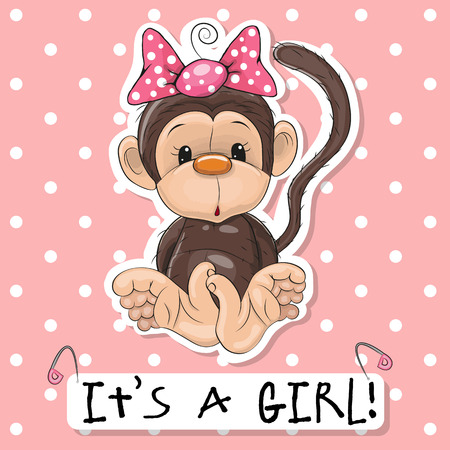pink girl: Cute Monkey girl on a pink background