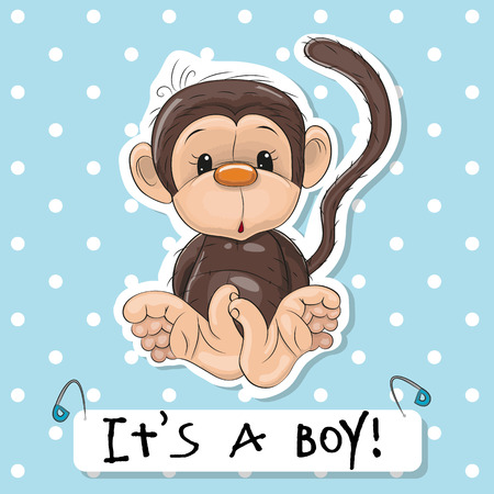 Cute Monkey boy on a blue background