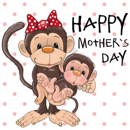 caricaturas de animales: Tarjeta de felicitación Dos monos una madre y una hija bebé