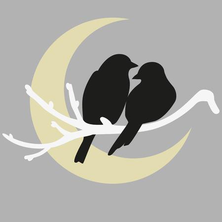 arboles blanco y negro: Dos pájaros está sentado en una rama Vectores