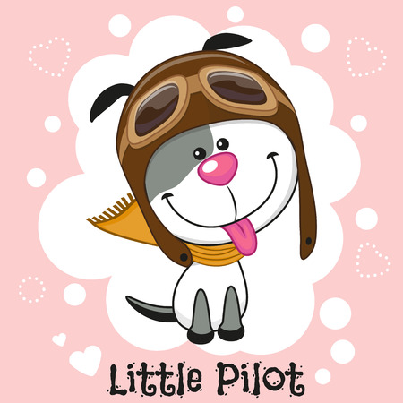 puppy isolated: Cute cartoon Dog in a pilot hat