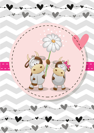 cartoon animal: Greeting card with two Cows in a frame