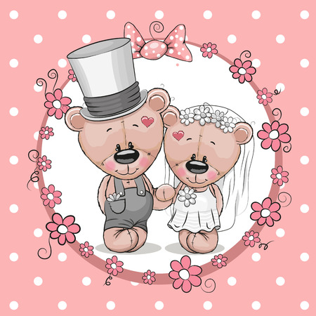 vows: Teddy Bride and Teddy groom on a pink background