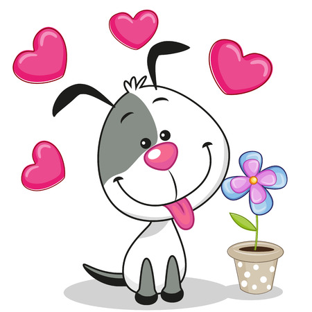 Greeting card Dog with heart and flower Illustration