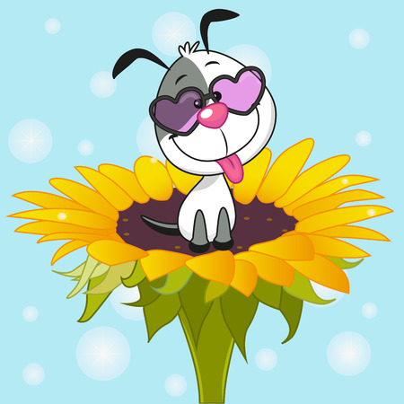Cute cartoon Dog on the flower Illustration