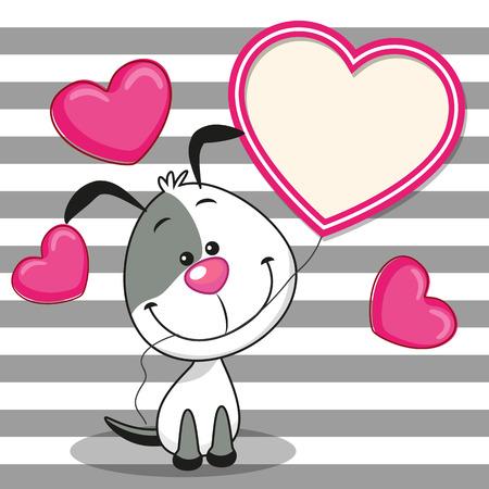 caricaturas de animales: Tarjeta de San Valentín con el perro con el marco del corazón