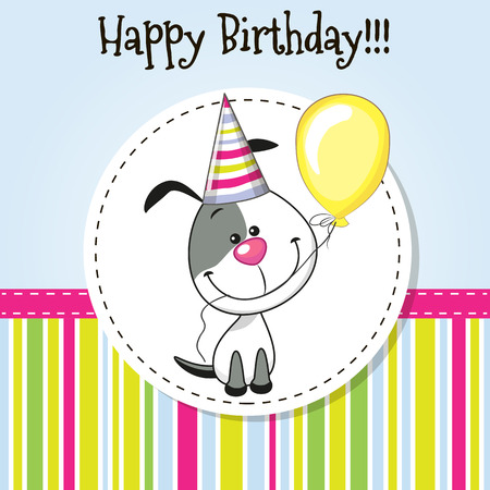 child and dog: Greeting card Cute Dog with balloon and bonnet Illustration