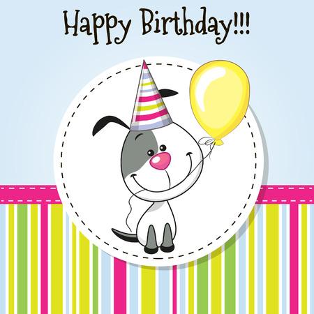 Tarjeta de felicitación del perro lindo con el globo y el capó Foto de archivo - 40287743