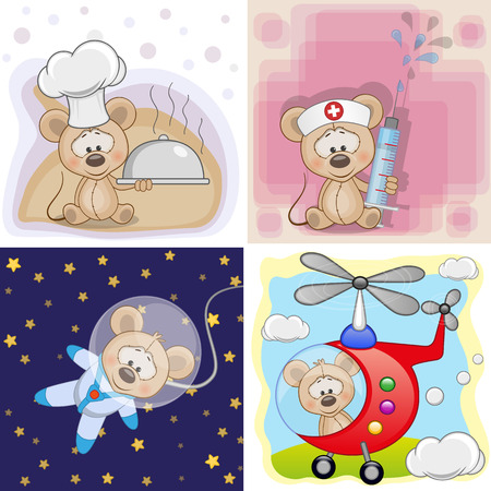 diferentes profesiones: Un conjunto de tarjetas con diferentes profesiones