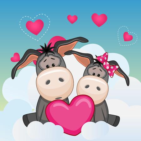 donkeys: Valentine card with Lovers Donkeys Illustration