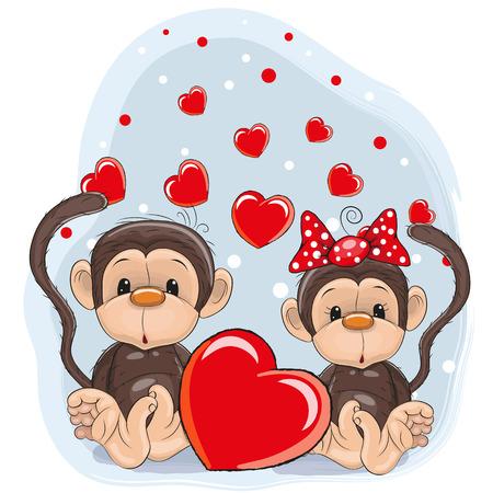Tarjeta de San Valentín con los amantes de los monos Foto de archivo - 40340792