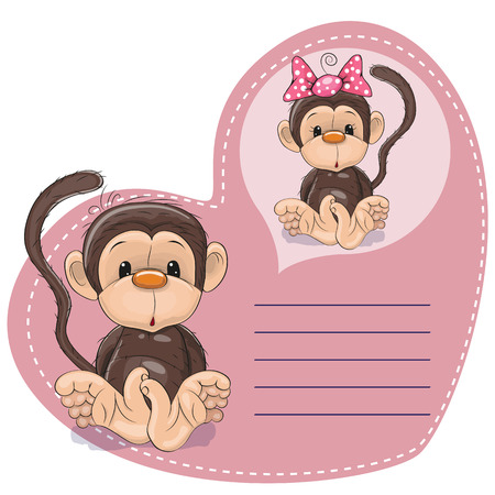 dreaming: Greeting card Cute Dreaming Monkey Illustration