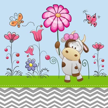 caricaturas de animales: Tarjeta de felicitación linda de la vaca con una flor en un prado