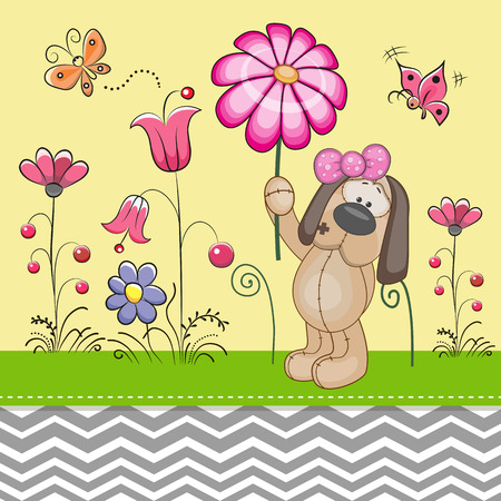 cute dog: Greeting card Cute Dog with a flower on a meadow Illustration