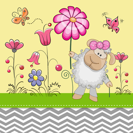 childhood: Greeting card Cute Sheep with a flower on a meadow