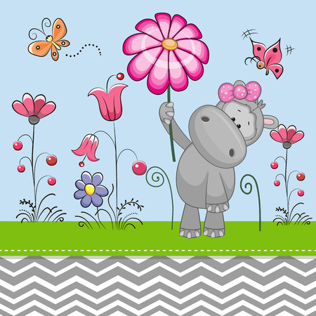 Greeting card Cute Hippo with a flower on a meadow Illustration