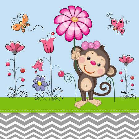 caricaturas de animales: Tarjeta de felicitación linda del mono con una flor en un prado