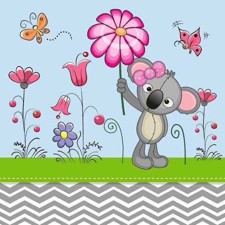 Carte de voeux Koala mignon avec une fleur sur une prairie Banque d'images - 40656011