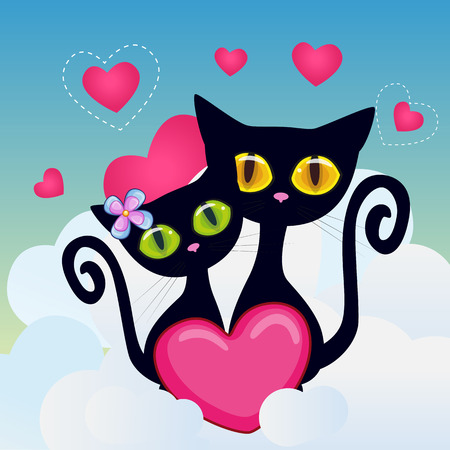 cartoons animals: Valentine card with Lovers Cats