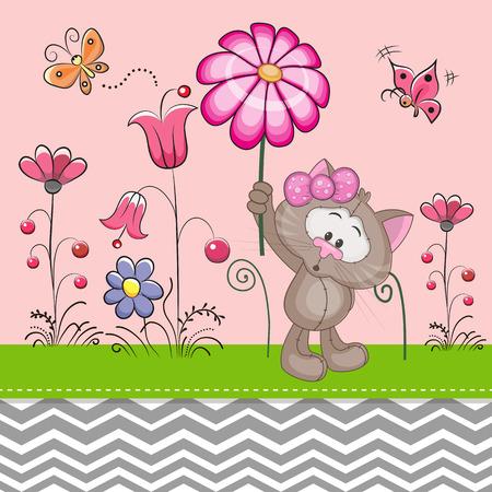Carte de voeux de chat mignon avec une fleur sur une prairie Banque d'images - 40656030