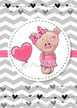 Greeting card Cute Teddy Bear girl with balloon Illustration