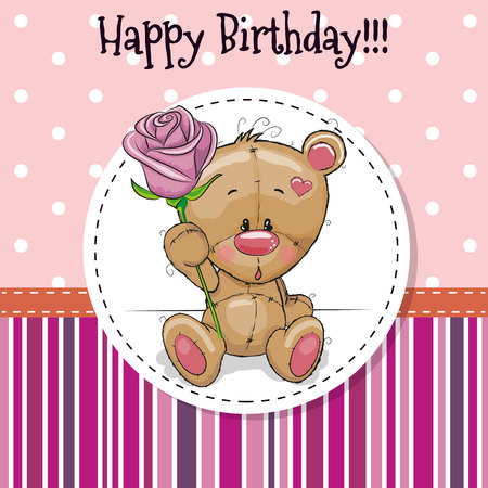 roses background: Greeting card Cute Teddy Bear with a flower