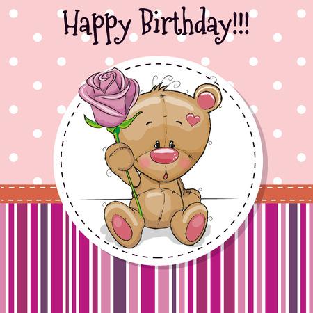 flower rose: Greeting card Cute Teddy Bear with a flower