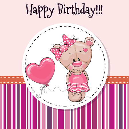 baptism background: Greeting card Cute Teddy bear girl with balloon Illustration