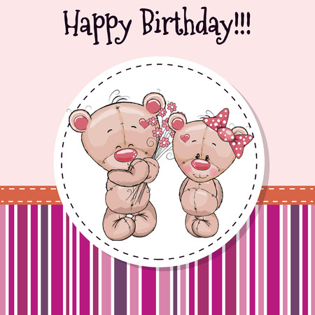 cartoons animals: Greeting card with two Teddy Bears in a frame