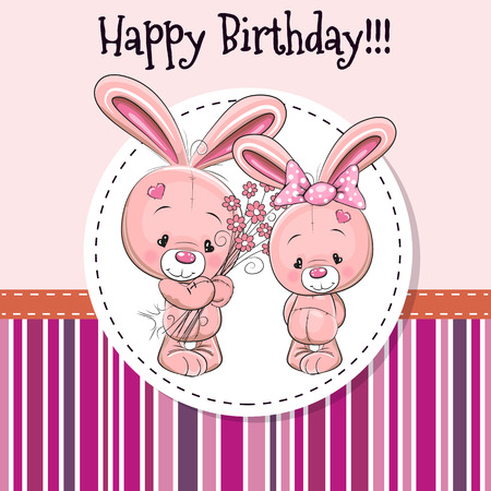 cartoon rabbit: Greeting card with two Rabbits in a frame Illustration