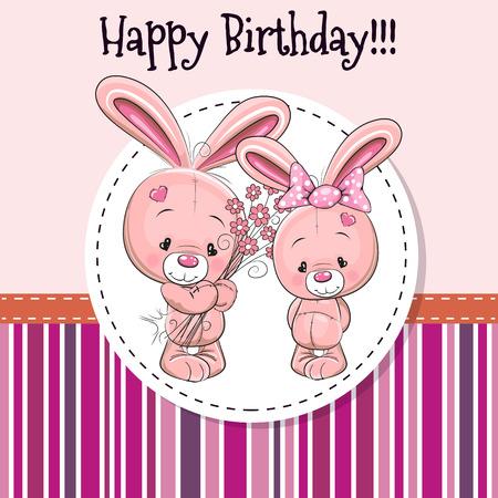 conejo caricatura: Tarjeta de felicitación con dos conejos en un marco