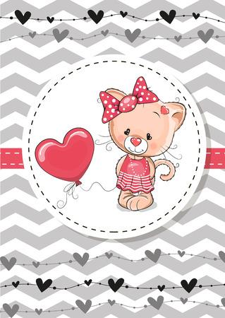 battesimo: Biglietto di auguri Cute Cat con palloncino e cofano