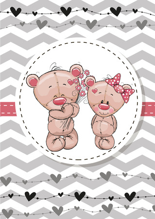 cute love: Greeting card with two Teddy Bears in a frame