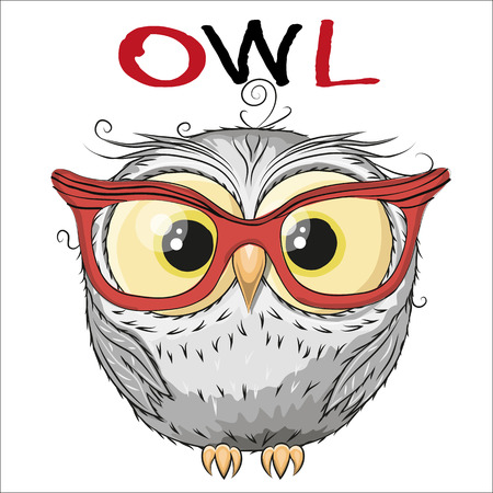 Cute Owl isolated on a white background Illustration